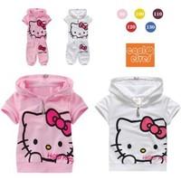 Free shipping 5sets/lot  children clothing set baby summer tracksuit hello kitty 2 pcs t-shirt +pant