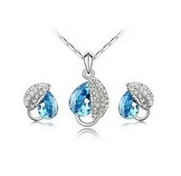 free shipping eye drop cover with leaf earring studs and necklace sets gifts