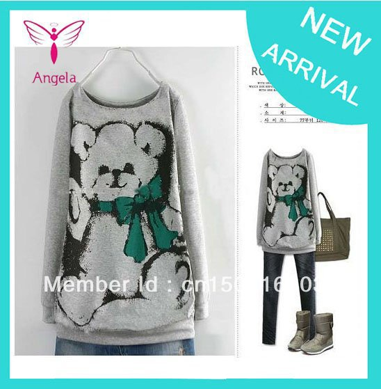 Cute Bear Printed Plus Size Causel Cotton T-shirt Dark Gray ,Light Gray 2 Colours L-4XL Size TS-038(China (Mainland))