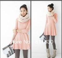 Free Shipping New Fashion 2014 Autumn & winter Knee Length Dress Women's Long Sleeve Comfortable Cute dress Woman Joker Casual