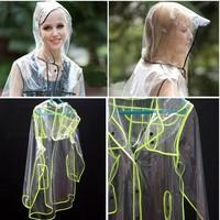 Unisex Outdoor rain wear Transparent raincoat Plastic rain suit Free shipping(12004)