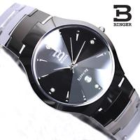 new 2014 Accusative binger tungsten steel watches steel male fashion quartz watch stainless steel mens watch waterproof watches