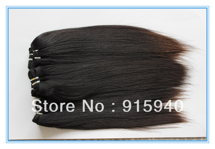Cheap price Brazilian hair 1B straight human hair weft(China (Mainland))