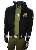 Free     shipping  Military uniform German fleece male male jacket zipper cardigan long sleeve hooded coat
