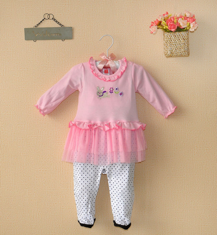 Free shipping summer 2013 carters baby girls pink embroidery rabit with flower lace long sleeve romper One Piece Footies(China (Mainland))