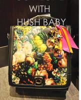 2013 spring vintage oil painting bag fashion normic backpack print backpack one shoulder handbag