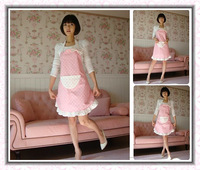 6pcs Free shipping 2013 latest design cotton pink white gray cloth apron the fashion Polka Dot apron kitchen apron