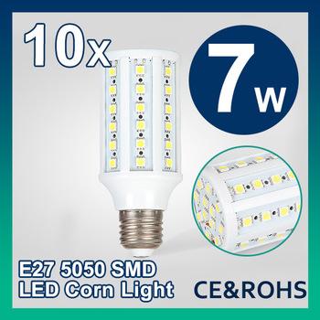 Free Shipping 10pcs/lot 7W E27 AC 85-265V Warm White/Cool White 700LM 44LEDs SMD Led bulb Corn Light Bulb Energy Saving Led Lamp
