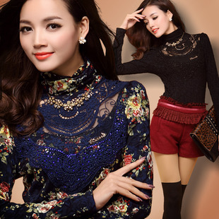 2013 spring and autumn new arrival lace rhinestones thin slim turtleneck long-sleeve women's basic t shirt(China (Mainland))