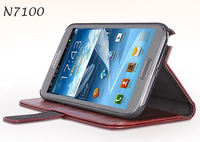 Top Quality Retro Leather Case For Samsung Galaxy Note 2 N7100 Wallet With Card Holder Stand Cover For Galaxy Note II