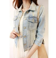 Spring and autumn brief vintage nostalgic denim short jacket girls jeans