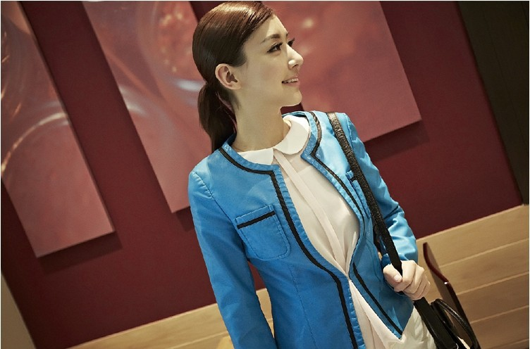 Free shipping Sell like hot cakes Made in China women leisure leather jacket coat natural sheepskin leather slim round collar(China (Mainland))