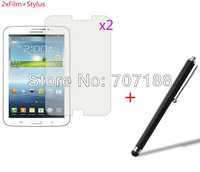 2xNew  Clear Screen Protector Guard+Stylus  For Samsung Galaxy Tab 3  P3200 /P3210 7 inch Tablet PC,free shipping!!!
