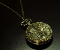 Large tower pocket watch necklace vintage accessories fashion necklace table