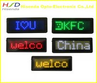 "Free shipping,5pcs/lot,LED name badge,programmable tag,Red,Yellow,Blue,Green,White pixel 7*29,3.2""x1.2""x0.2"""