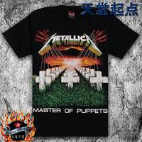 2015 summer rock punk shirt,cross short sleeve metallica tee 100% cotton fashion personality metallica band printed t shirts