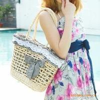 Free shipping Hot-selling Women's Fashion 2013 Summer Straw bag Sweet ladies Beach bag Bowknot Lace bags Wholesale handbags