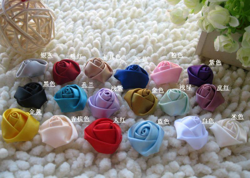 Mix 2.2cm DIY handmade 3D ribbon flowers silk rose bud special, bulk rose buds(China (Mainland))