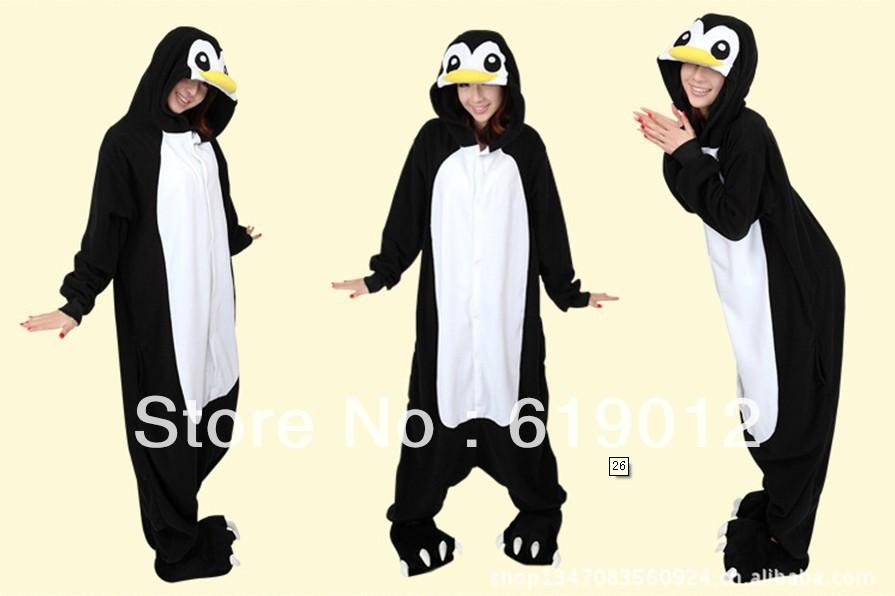 2013 New Unisex hooded Pajamas as penguin Anime Cosplay Costumes penguin Animal Pajamas W-13(China (Mainland))