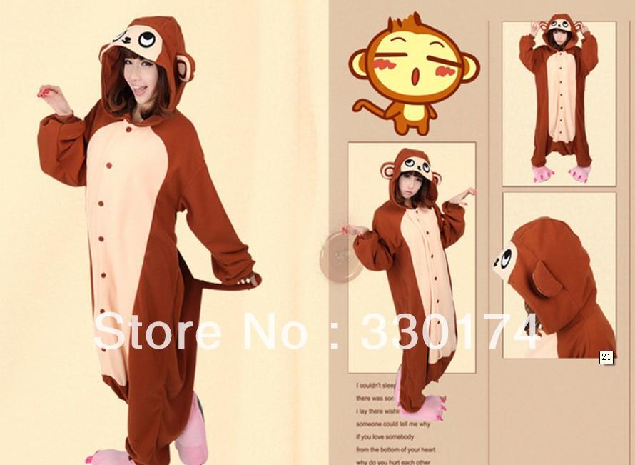 New Unisex hooded Pajamas as monkey Anime Cosplay Costumes Animal Pajamas(China (Mainland))