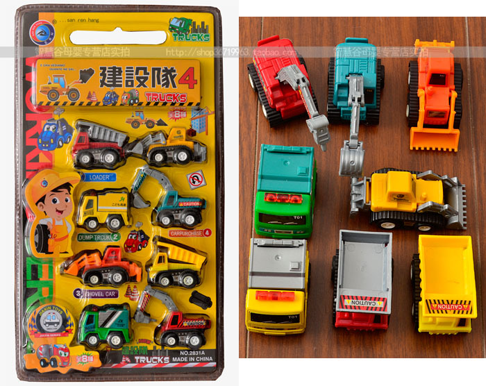 Drop Shipping Pull Back Car Toys Series of Trucks Children Racing Car Toys Baby Mini Cars 8Pcs/set Children Best Gift(China (Mainland))