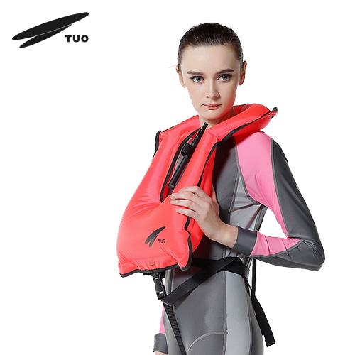Tuo j-1308 inflatable buoyancy vest snorkel belt survival whistle life vest(China (Mainland))