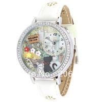 MN1078B MINI watch double layer glass 3D cat watch DIY Handmade Genuine Leather Quartz Ladies watch 1pc+free shipping