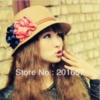 Fashion Women Wide Large Brim Floppy with flowrs Beach Sun Straw Hat Cap Free Shipping