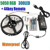 44 key IR Remote 5050 RGB 300 waterproof LED Light Strip 60 PCS/M +Power Supply ,led strip