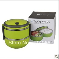 Free Shipping 2 Layers Stainless Steel Lunch Box with handle Thermos Food Container Tableware Dinnerware Sets 1400ML