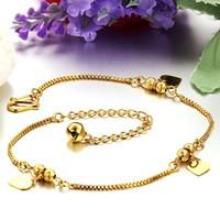 Luxury 18K Yellow Gold Plated Heart Shape Pendant Anklets Bracelet For Women Length 24cm Free Shipping Ankle Bracelet Jewelry721