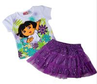 Free shipping 4sets/lot 2~5T girl casual summer clothing sets dora short sleeve t shirt + purple lace skirt