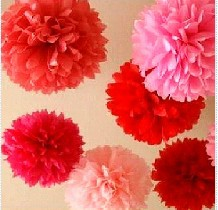 "20cm(8"") paper flowers Tissue Paper Pom Poms wedding decoration Craft for Parties 10pcs/lot 13 colors for choose ball flower(China (Mainland))"