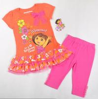Free shipping 2013 new 3 sets/lot girl summer clothing sets the explorer dora short sleeve t shirt with floral hem+ leggings