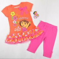 Free shipping 2013 new 3 sets/lot girl summer clothing sets the explorer dora short sleeve t shirt with floral hem+ leggings