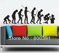 Free shipping 1pcs Free shipping ,Human evolution Wall Stickers, high quality, removeable wall decal, icon evolution