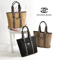 Giovanna milano classic check letter print formal women's large capacity handbag laptop bag