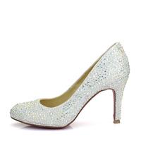 2014 new arrival real high quality red bottom heels sandals women shoes crystal rhinestone diamond pumps 8cm heel 2cm platform