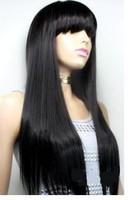 nuevo largo negro y lacio cabello humano hizo peluca / Pelucas wig / Free Shiping