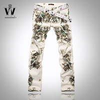 Male jeans slim straight colored drawing male jeans summer flower pants 2