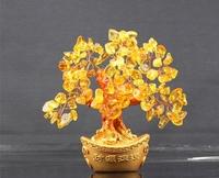 Natural yellow crystal ingot tree lucky tree pachira decoration
