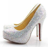 2014 sale new freeshipping high quality red bottom heels crystal rhinestone wedding shoe diamond pumps 12cm heel 3cm platform