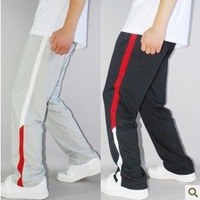 Sports pants male mosaic lines 100% cotton sports trousers male sports health pants basketball pants trousers
