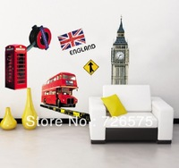 Free Shipping  Modern House LONDON Big Ben Phone Booth Double Deck Bus England Flag removable Vinyl Mural Art Wall Sticker Decal