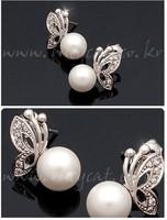 Mini Order USD20 Free shipping classic design imitation pearl butterfly earrings Beauty Jewelry FZ6-1