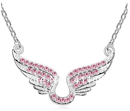 Cupid angel wings crystal necklace