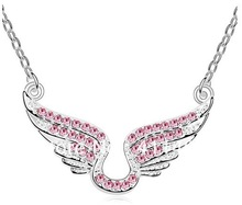 Cupid angel wings crystal necklace