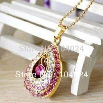 4gb 8gb 16gb 32gb metal jewelry heart crystal pink USB 2.0 flash drive memory pen disk Drop ship dropshipping