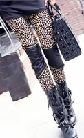 lovely sexy sweet cute Leopard Pants Leather leggings   zipper leggings ladies stretch pants