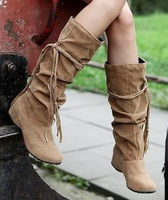 Free shipping winter 2013 fashion knee high boots for women big size shoes woman eur34-43 flats girls ladies knot CSXX34211